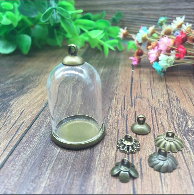 100sets/lot 30*20mm Tube Glass Globe Antique Bronze Color Ordinary Base Beads Cap Glass Vial Pendant Glass Bottle Accessories Comfortable Feel