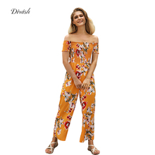 Diwish Sexy Bodysuit Floral Print Women's Summer Overalls 2019 New Women Jumpsuits Strapless Romper Women Long Trousers