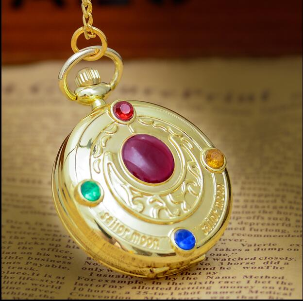 Wholesale 20 PCS/lot Sailor Moon Modern Clock Pocket Watches Chain Gift