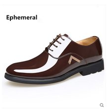 Mens patent leather shoes for business lace up glitter wedding shoes luxury  black yellow brown 2018 d47fd31d09a8