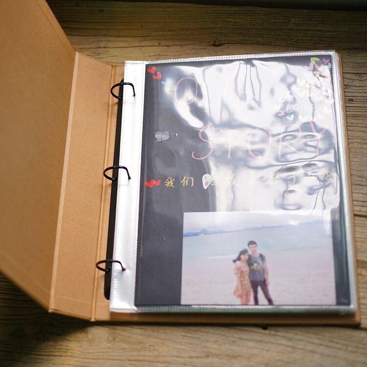 Fait à la main rétro Album de Scrapbook blanc feuilles mobiles Vintage papier bricolage enfant autographe Album anneau liant avec PE sac 6 couleurs papier