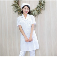 Nurse clothing uniform summer short sleeved women's suit white coat slim body salon uniforms long sleeved winter wear doctor