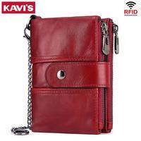 KAVIS Rfid 100% Женский кошелек из натуральной кожи женский Portomonee короткий кошелек для монет мужской кошелек для денег качественная дизайнерская ...