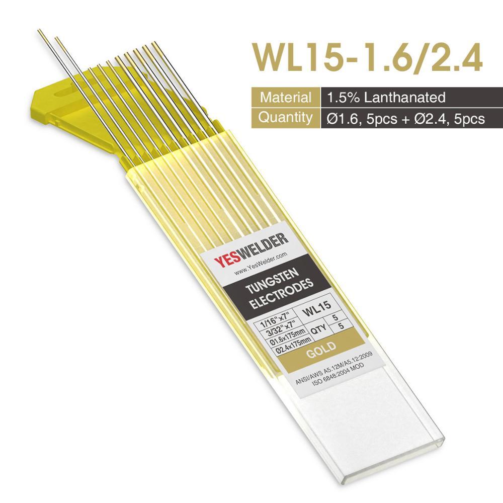 Yesseller 10-pk TIG сварочный вольфрамовый электрод WP/WT20/WC20/WL15/WL20/WX - Цвет: WL15-1.6-2.4