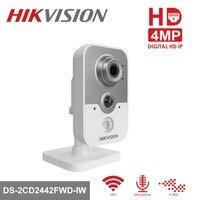 Hikvision Беспроводной безопасности IP Камера DS 2CD2442FWD IW 4MP CMOS WiFi ИК ночного Версия видеонаблюдения Камера двухстороннее аудио SD карты