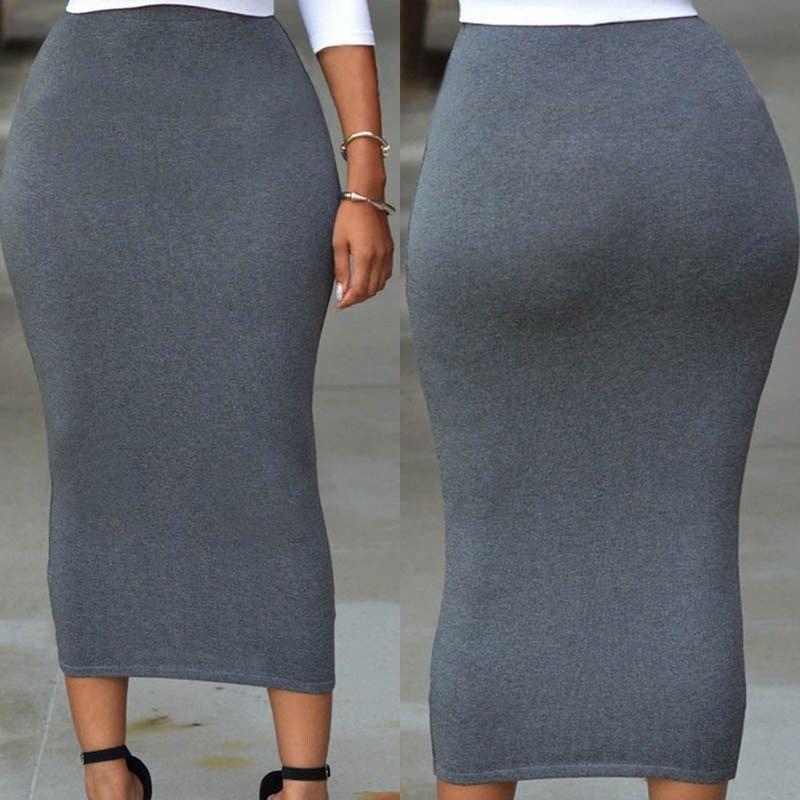 Hot Push Up Sexy Bodycon Solid High Waist Bodycon Straight Stretch Pencil Midi Skirt Sexy Women Solid Long Skirts Costume in Skirts from Women 39 s Clothing