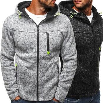 Men Sports Casual Wear Zipper Fashion Tide Jacquard Hoodies Jacket Fall Sweatshirts Autumn Winter Coat