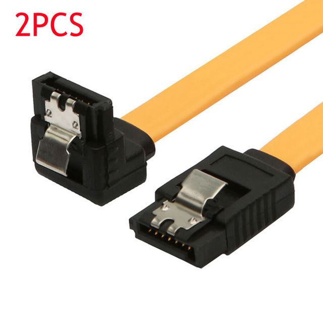2Pcs/lot 90 Degree/Straight Angle SATA III Cable 6.0 Gbps With Locking Latch 32Inch Yellow EM88