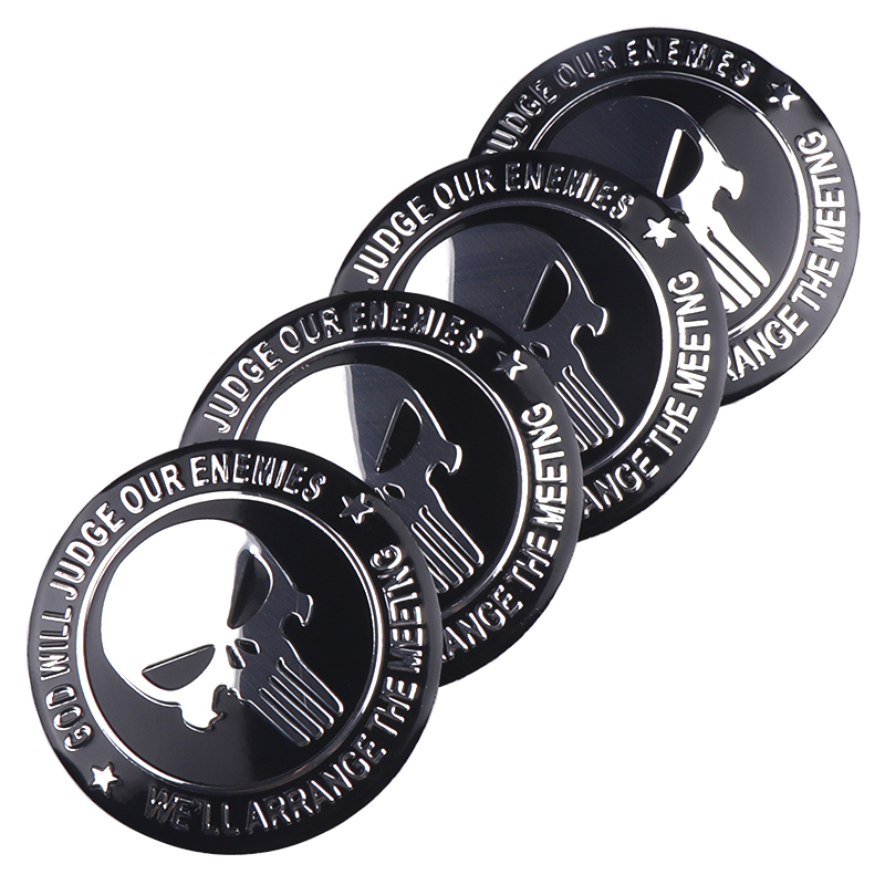 Image 3 - 4pcs 56mm 3D THE Punisher Car Steering tire Wheel Center Badge sticker Hub Cap Emblem Decals Symbol Car styling Decoration-in Car Stickers from Automobiles & Motorcycles
