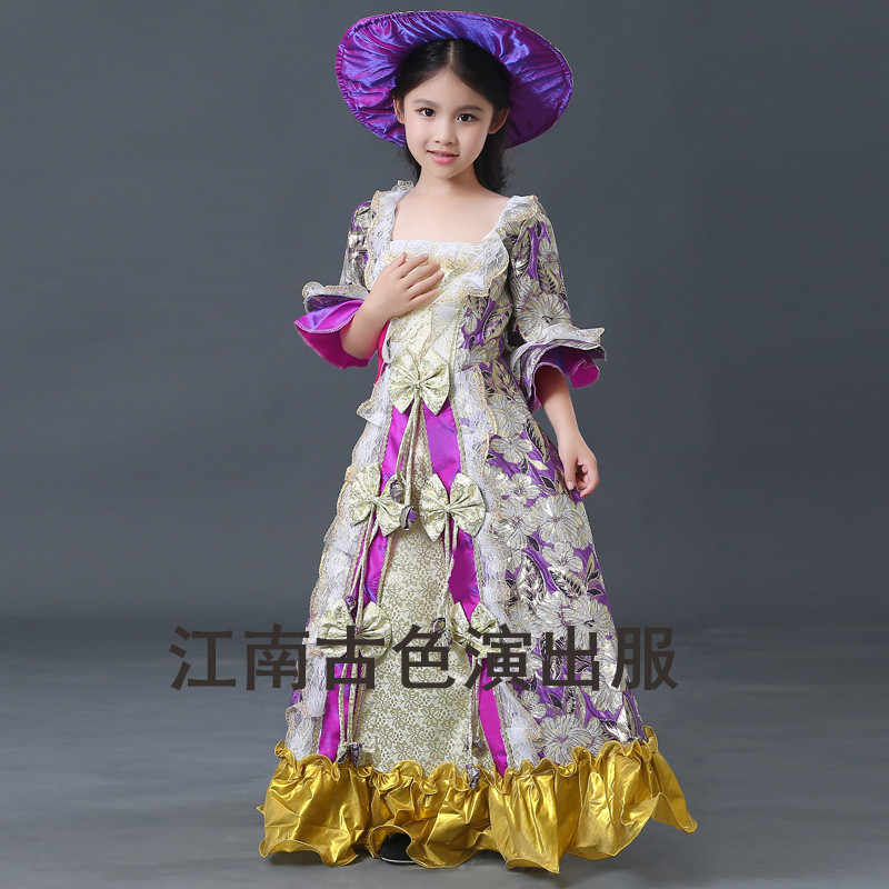 Free ship children's girls medieval dress with hat princess stage flower embroidery renaissance ball gown victoria cosplay
