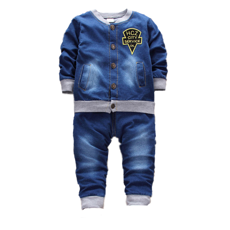 MBBGJOY Baby Boys Girls Denim Sets Jacket + Pant Autumn Spring Clothing 2017 New 6M-3T Kids Children Cowboy Clothes Jeans Sets men s cowboy jeans fashion blue jeans pant men plus sizes regular slim fit denim jean pants male high quality brand jeans
