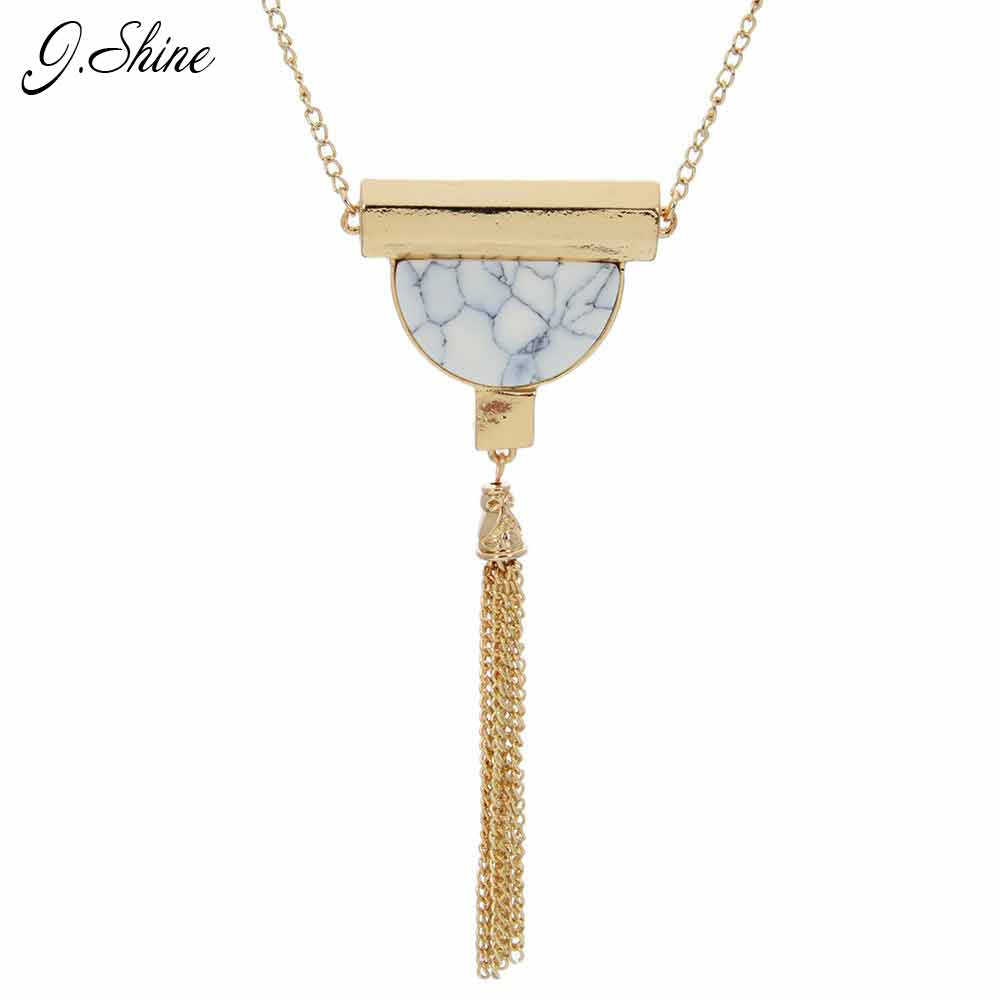 0c61c78661f1 Indien Ethnique Long Gland Collier Semi-cercle Marbre Pierre Chandail Chaîne  OL Style Mode Bijoux Pendentif Bijoux