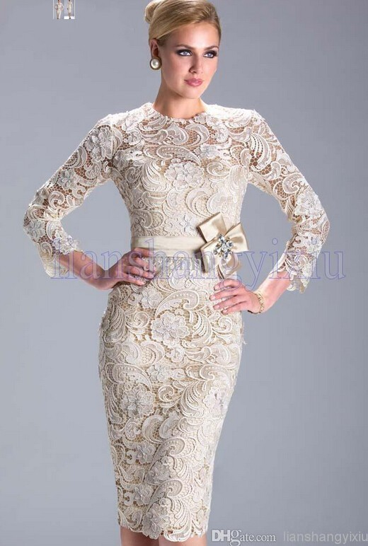 Champagne 2018 Mother Of The Bride Dresses Sheath Knee Length Lace Bow Plus Size Groom Formal Short Mother Dresses For Wedding