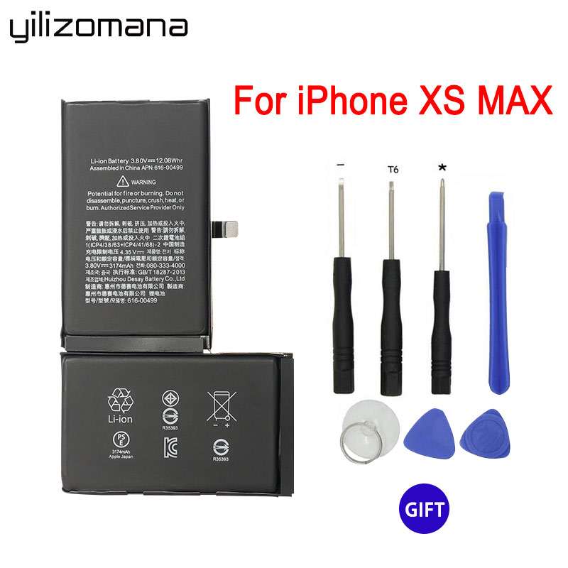 YILIZOMANA For Apple Iphone XS Max 3174mah Replacement Phone Battery Real Capacity Replacement Batteries With Free Repair Tools