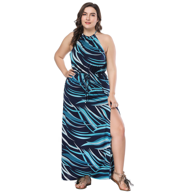 2018 Women s New Arrival Boho Sleeveless Halter Neck Summer Beach Holiday Maxi  Dress Plus Size Dresses Sexy Split Party Dress 03673c99ad48