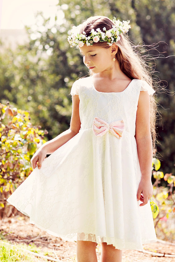 A-Line Flower Girls Dresses For Wedding Gowns Knee-Length Kids Prom Dresses Lace Dress Girlvestido daminha Mother Daughter Dress fancy bateau neck half sleeves lace sashes a line knee length prom dress designed