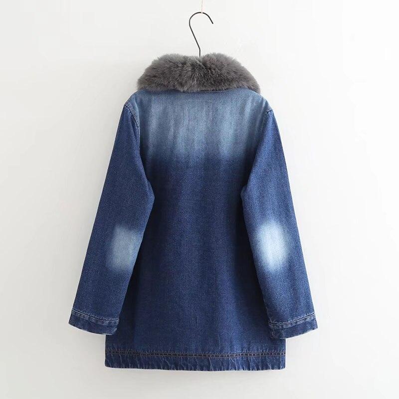 Unique Chaquetas Noir Fourrure Col Veste De Denim Femmes Manteau Agneau D'hiver Fille Poitrine Casual Bonu Jean Grande bleu Mujer Épaississent wBtxaOzq