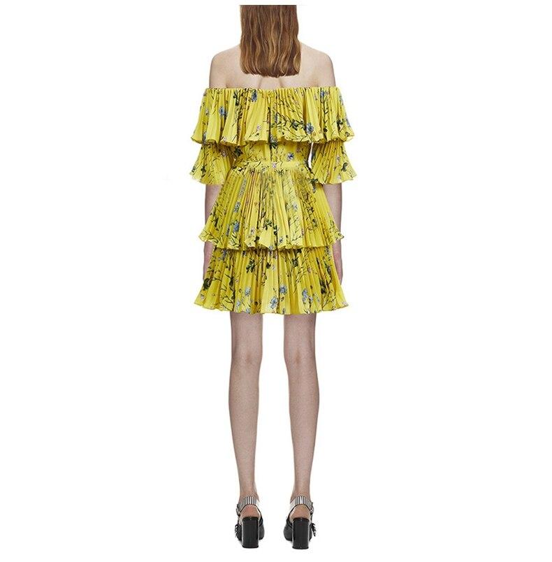 Alta Qualità Pieghettato 2018 Da Stampato yellow Delle Boemia Autoritratto Spalle Di Dalla Della Donne Vestido Sexy Spiaggia Pink Estate Floreale Vestito Giallo q5qaEw