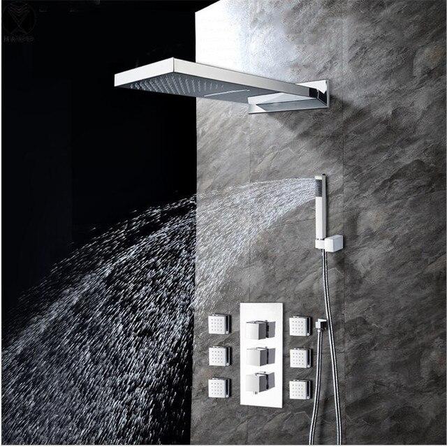 bad duschkopf mit 6 auslauf und handbrause 2 arten von outlet wasserfall regendusche kopf bad - Wasserfall Regendusche
