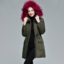 Autumn And Winter new Europe and the United States Hooded Fur collar Long section Slim Waist