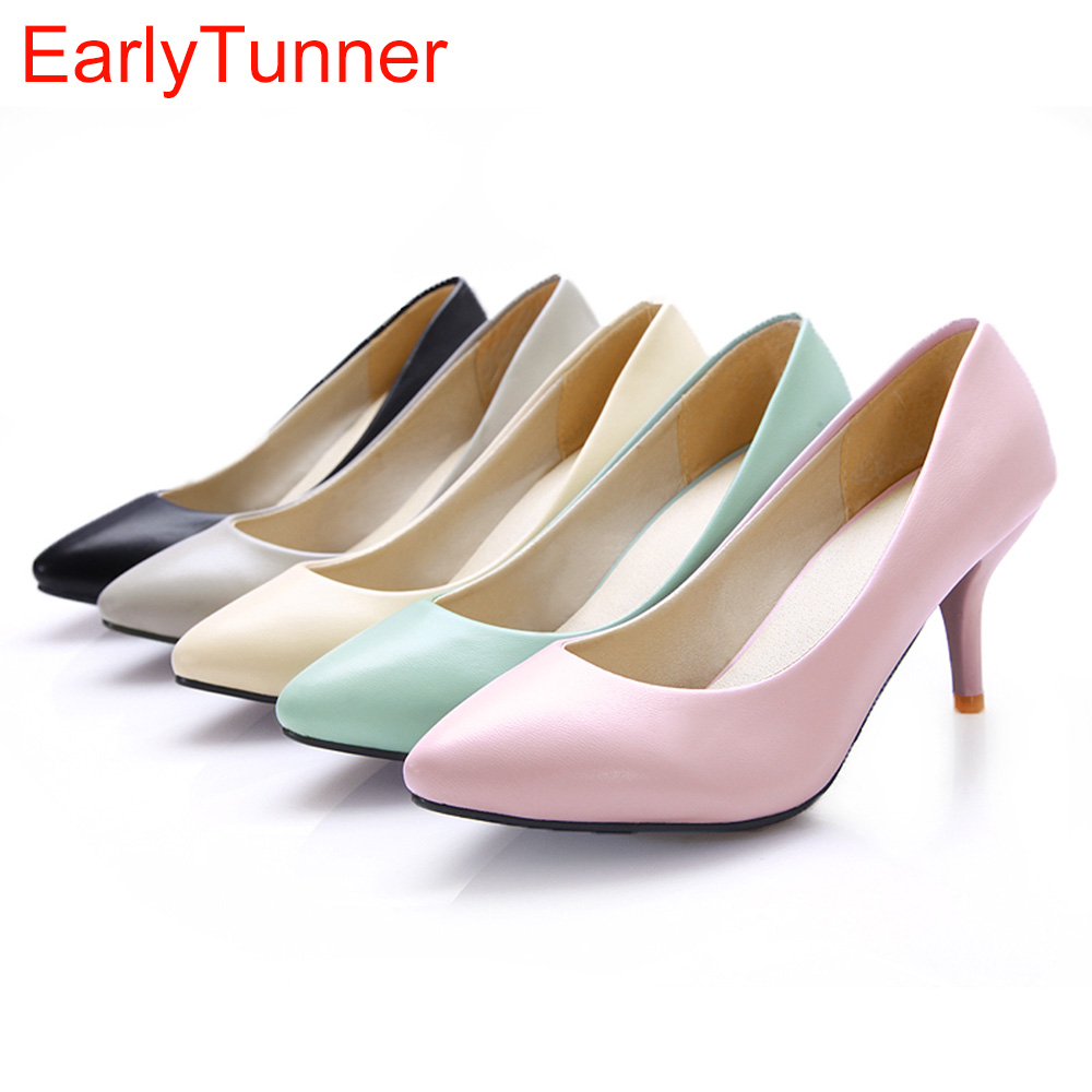 Brand New Hot Sweet Black Pink Beige Light Blue Women Nude Pumps Lady Formal Med Heels Shoes AMS909-1 Plus Big Size 46 10 12 armoire new glossy sexy women nude pumps blue pink purple white high heels ladies formal dress shoes am 9 plus big size 12 30 48