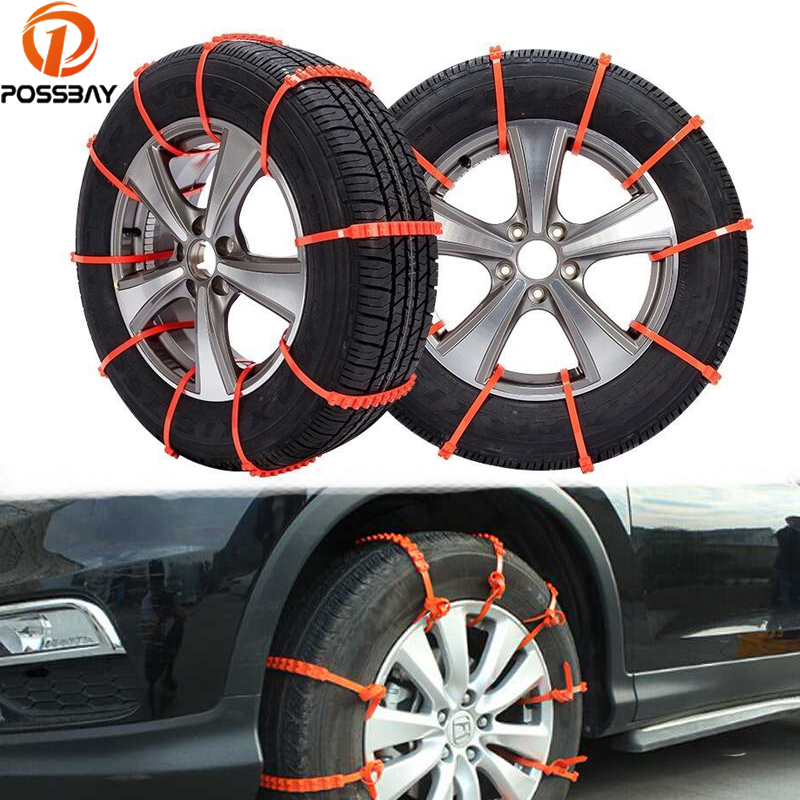 POSSBAY 10 Pcs Automobiles Accessories Anti Slip Tyre Chain nti-skid Car Mud Snow Chain Car Wheel Belt Winter Non Slip Tires image
