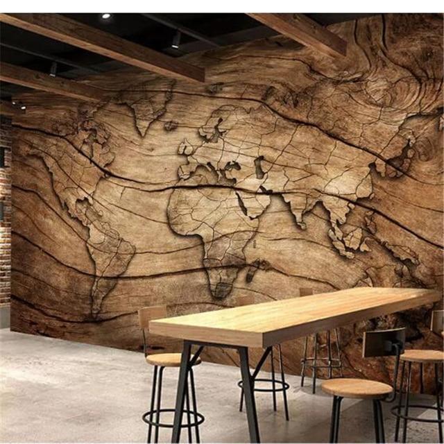 beibehang papel de parede 3D Custom wallpaper Retro wood grain world ...