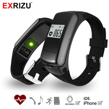 EXRIZU F50 Bluetooth Talkband Headset Smart Wristband Pedometer Fitness Bracelet Tracker Heart Rate Monitor Supprot SD Card