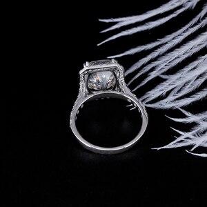 Image 4 - DovEggs 14K الذهب الأبيض هالو مركز 5ct 9*11 مللي متر GH اللون أحجار بمقطع مشابه لشكل الوسائد مويسانيتي خاتم الخطوبة للنساء هدية الزفاف خاتم على شكل هالة