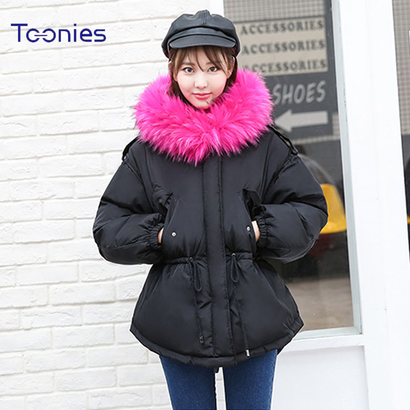 New Winter Warm Women Fashion Parkas Coat Female Lace Up Big Fur Hooded Thicken Padded Jacket Feminino Sweet Cascos Outwear Tops [zob] supply of new original omron omron photoelectric switch e3jk dr12 c 2m alternative e3jk ds30m1 2pcs lot