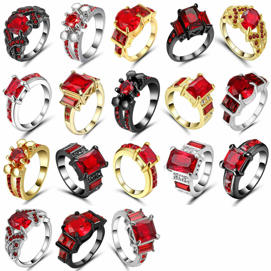 Red cubic zircon Rings For Women Lady Black Gold Silver Filled Wedding Engagement Love Promise Ring Anel Valentine's Day Size 8