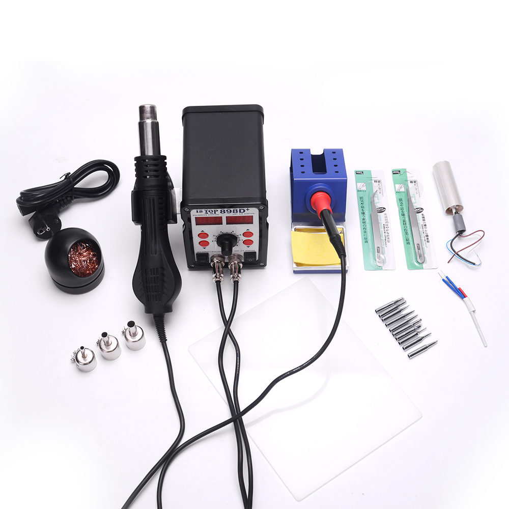 ISTOP 898D+ Dual digital display 600W SMD Soldering Stations Rework Station Solder Iron + Hot Air Gun With tips Clean ball yihua 898d led digital 700w lead free smd desoldering soldering station hot air soldering station