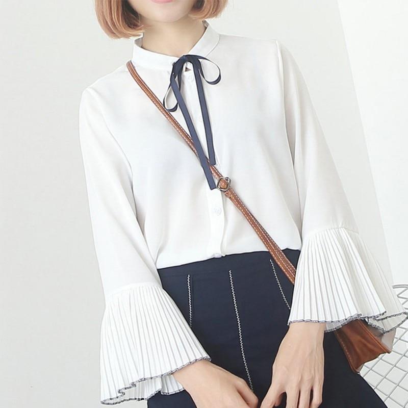 New Arrive Women Girls Chiffon Blouse Sweet Petal Sleeve Turn-Down Collar Shirt Streetwear blusas S4