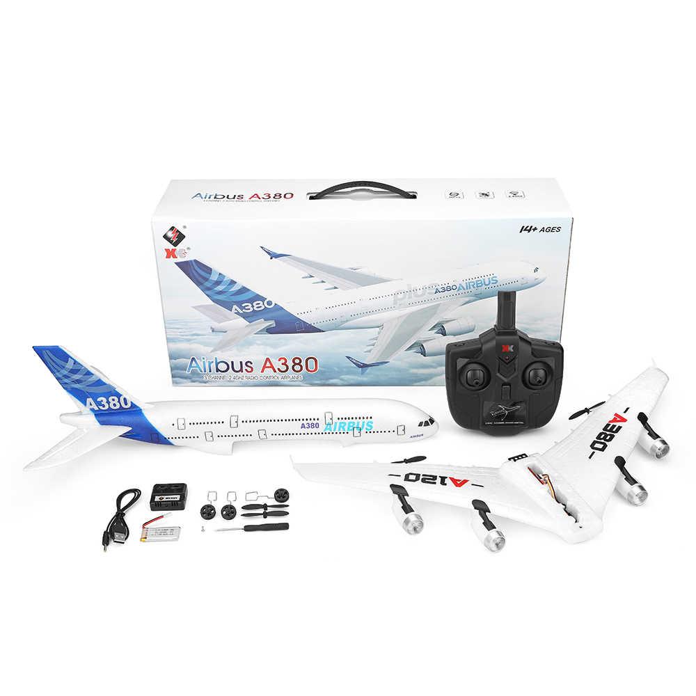 Wltoys XK A120 RC avión 3CH 2,4G EPP Control remoto Avión de ala fija RTF Airbus A380 RC juguete modelo de avión para niños