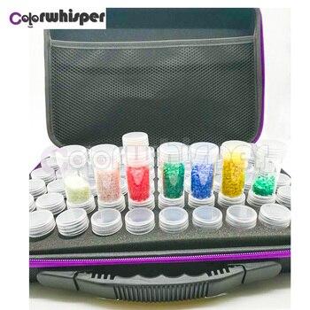 60 botellas caja de pintura de diamante contenedor de almacenamiento cuadrado completo llevar estuche de almacenamiento bolsa de mano diseño de cremallera a prueba de golpes Durable