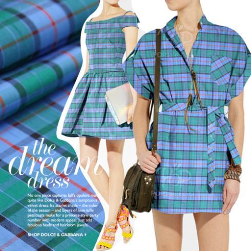 LEO&LIN 2017 New Vintage Blue Dyed Check 100% Dupioni Silk Fabric For Dress 50cm