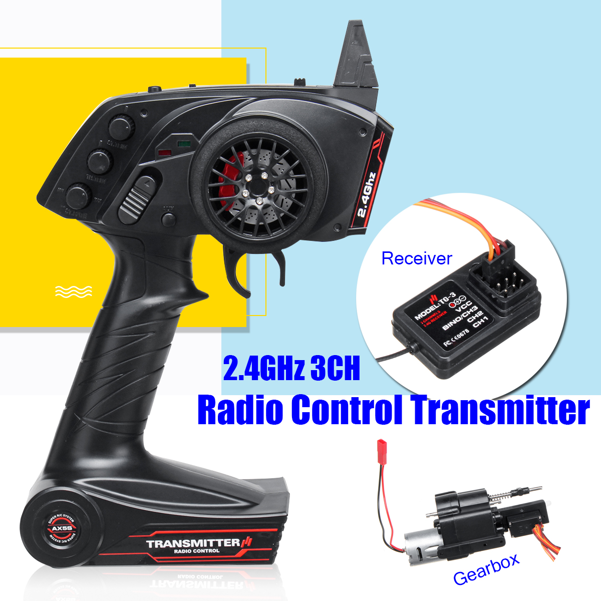 Speed Change Gear Box 3CH Radio Transmitter For WPL B1 B24 B16 C24 1/16 4WD 6WD Rc Car Super Active Throttle Limit Range