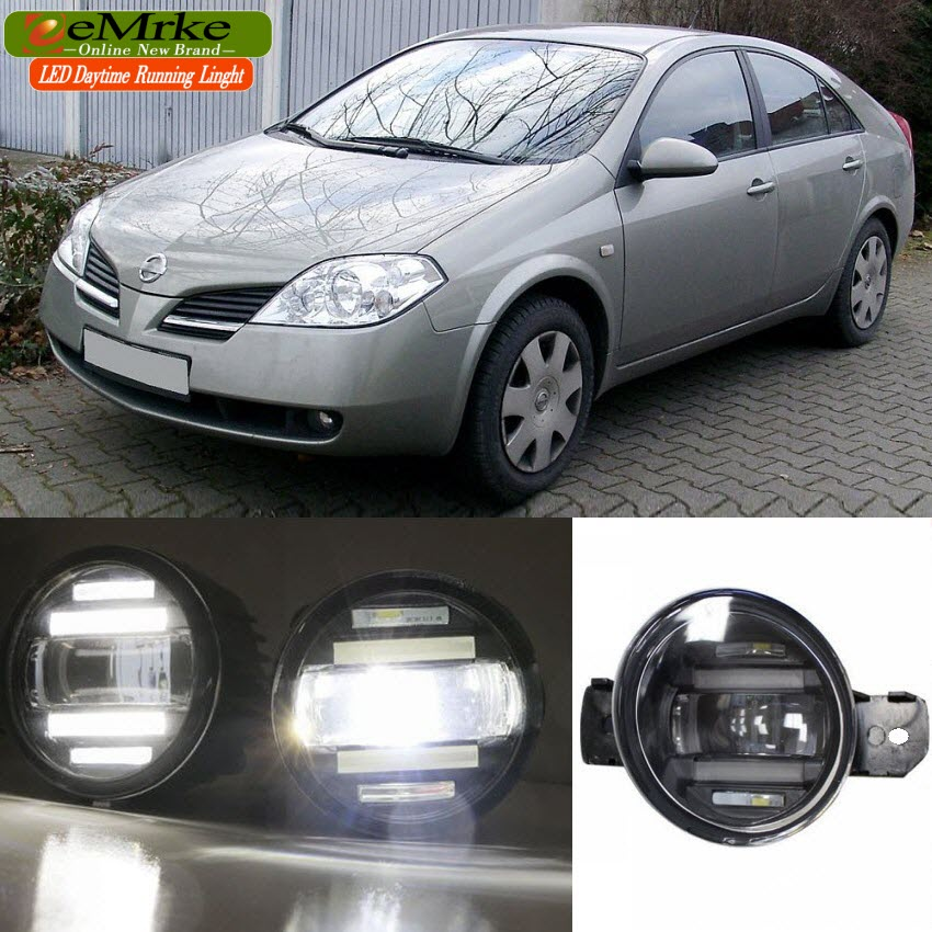 eeMrke Xenon White High Power 2in1 LED DRL Projector Fog Lamp With Lens For Nissan Primera P12 2001-2008 цена