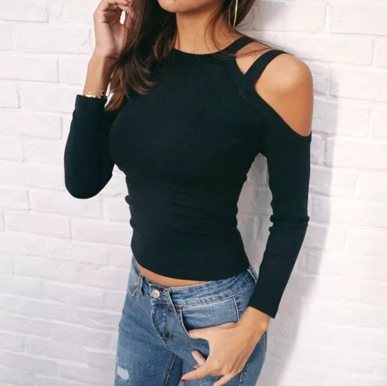 New 2018 Women Spring Cut Out Long Sleeves T-Shirt Casual Slim Basic T-shirt