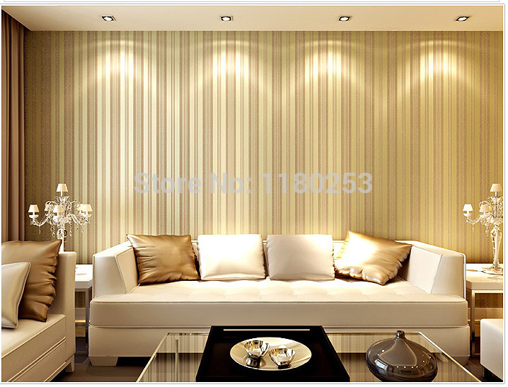 New decoration stripe golden surface wallpaper roll non for 3d wallpaper for home decoration