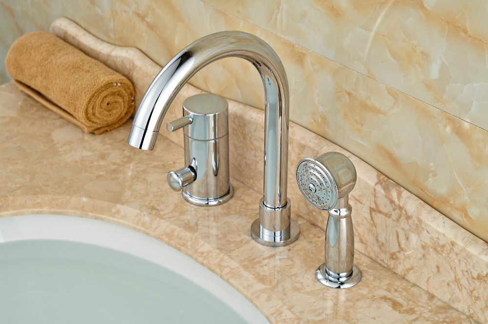 Deck Mounted Chrome Brass Bathroom Tub Faucet 3 PCS Sink Mixer Tap ...