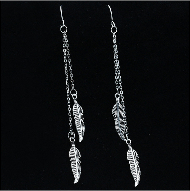 Boho Feather Design Long Chain Hanging Earrings Antique Silver Gold Hook Dangling Earring For Women Pending