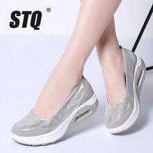 STQ 2020 秋女性フラット厚底靴の女性通気性メッシュカジュアルスニーカー靴の女性の厚い唯一で靴 9001