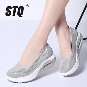 Image 1 - STQ 2020 Autumn Women Flat Platform Shoes Women Breathable Mesh Casual Sneakers Shoes Ladies Thick Sole Heel Slip On Shoes 9001