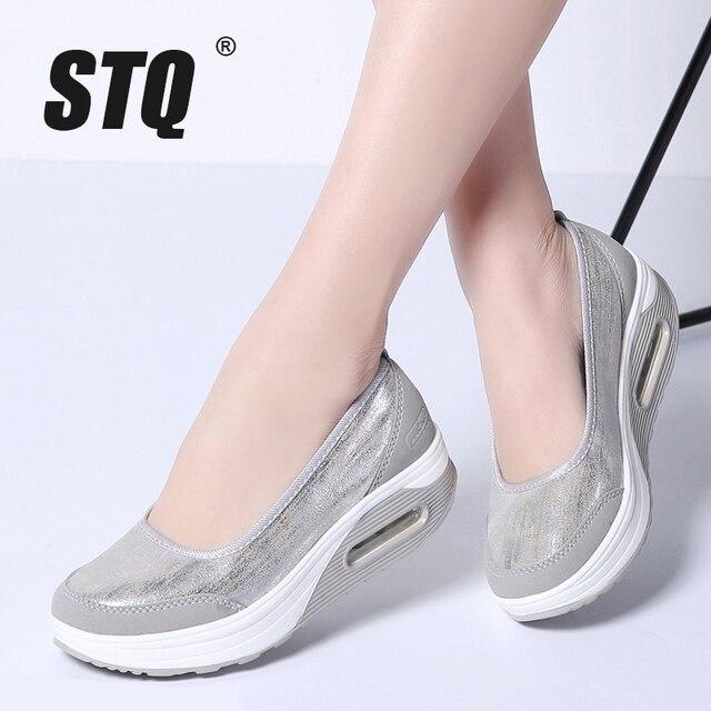 STQ Mùa Xuân 2019 phụ nữ phẳng nền tảng Giày nữ lưới thoáng khí đế mềm Giày nữ đế dày gót giày slip on trơn 9001