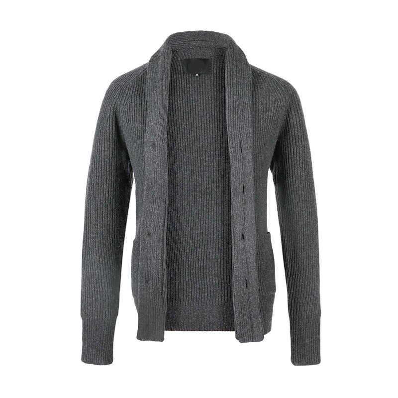 2018 Для мужчин свитер Однобортный Повседневное кардиган Brief Grey черный Свитер с длинными рукавами Для мужчин s дропшиппинг NZ475