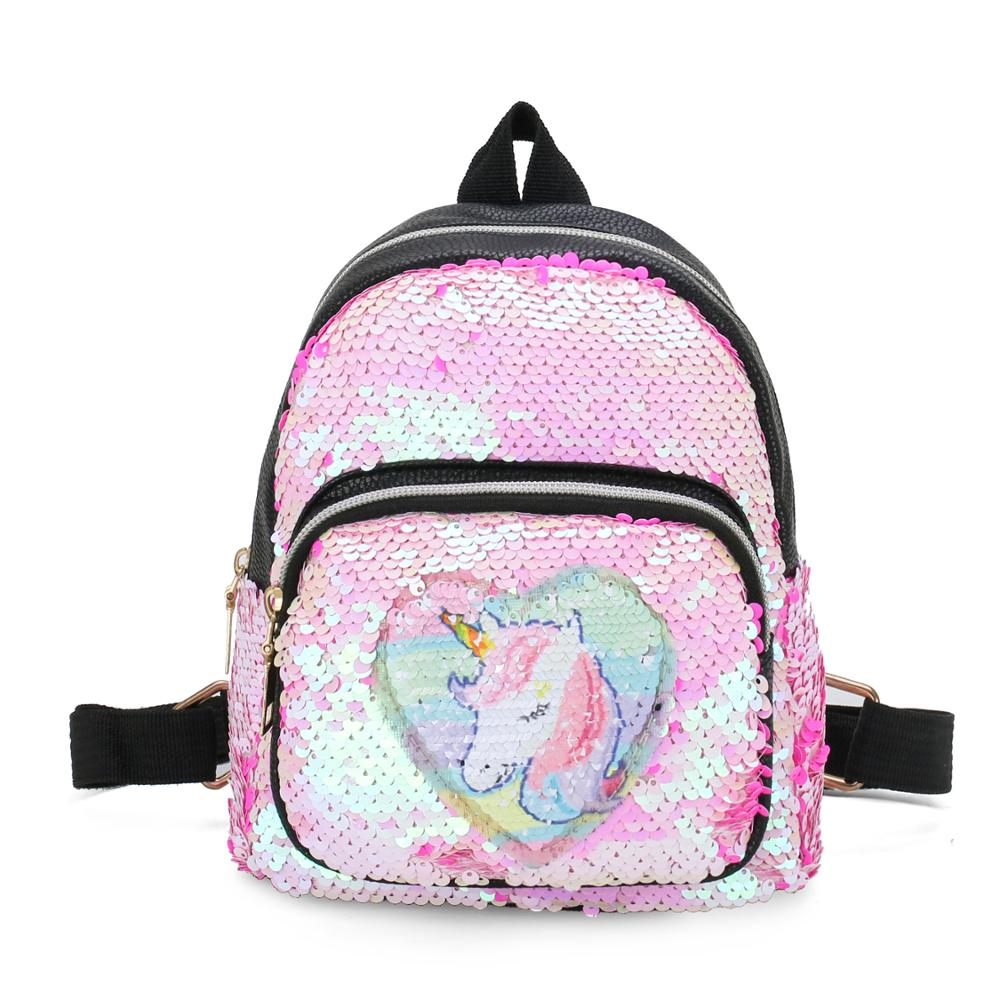 New Fashion Women Glitter Leather Backpack Unicorn Mini Travel Children Sequins Shoulder Bag Back Pack Mochila Feminina Backpack