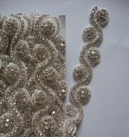 Hotselling Bling Rhinestone Lace Material Trim, Lace Bridal Crystal Trim Ribbons