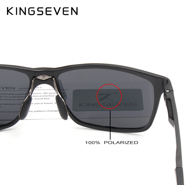 KINGSEVEN Men's Polarized Sunglasses, Top Quality Aluminum and Magnesium Square Frame
