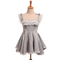 Girls Sexy Lolita Ballet Dress Spaghetti Strap Lace Trim Short Mini Dress Black Grey